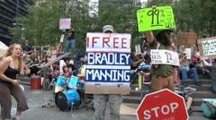 Protestors – Occupy Wall Street, Sidewalk Scene Stock Footage
