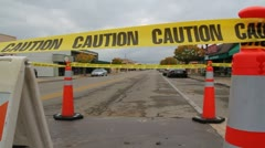 Road work with caution tape Stock Footage