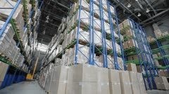 Industrial warehouse with boxes 3 - stock footage
