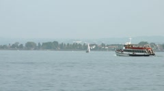 Ship and tourists on Lake Garda Stock Footage