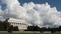 Linclon Memorial, majestic west portico, cars pass Stock Footage