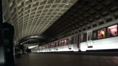 Metro Train leaves station, Washington, DC. Passengers alight. Stock Footage