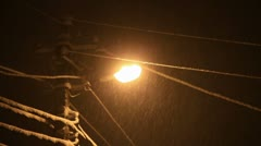Frozen storm on the electrical line - stock footage