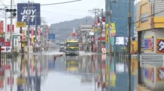 Japan Tsunami Aftermath - Tidal Flooding In Downtown Ishinomaki City Stock Footage