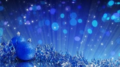 Blue christmas tree decoration and glitter particles loop Stock Footage