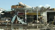 Tsunami Damage To Gas Station In Kesennuma City Japan Stock Footage