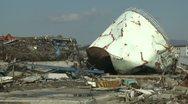 Tsunami Damage To Port In Kesennuma City Japan Stock Footage