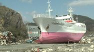 Stock Video Footage of Huge Ship Washed Ashore After Tsunami In Kesennuma City Japan