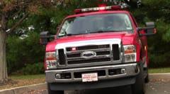 Fire truck with flashing lights Stock Footage