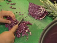 Red cabbage cut with knife. Healthy ecological food. Stock Footage
