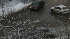 Snow thaw on the road Stock Footage