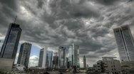Dark clouds over Frankfurt Stock Footage