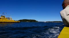 Scandinavia Finland The Turku Archipelago ferry at Baltic sea Stock Footage
