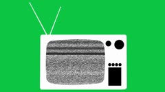 Old tv icon on greenscreen - stock footage