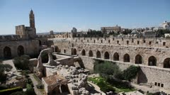 David tower, Jerusalem old city, pan - stock footage