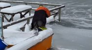 Stock Video Footage of Winter Finland Helsinki winter frozen boat at harbor