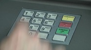 Pushing number buttons on ATM Stock Footage