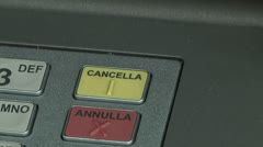 "Close up fingers pushing ""CANCELLA"" button on ATM, Bancomat Stock Footage"