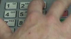 "Close up fingers pushing ""3"" button on ATM, Bancomat Stock Footage"