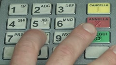"Close up fingers pushing ""8"" button on ATM, Bancomat Stock Footage"