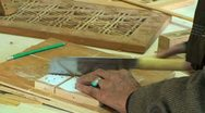 Worker cuts wood in the workshop for wood Stock Footage