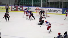 Scoring an ice hockey goal in powerplay 5 to 3 Stock Footage