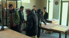 Stock Video Footage of Afghan workers processed wood in the workshop