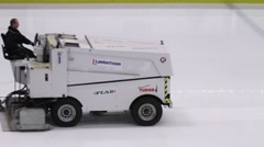 Battery powered ice resurfacer - stock footage