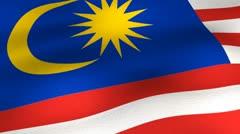 Flag-Malaysia-25fps-angle Stock Footage