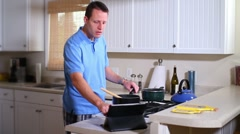 Cooking with iPad 2318 Stock Footage