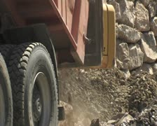 Truck unloading stones of great tonnage. Construction. Stock Footage