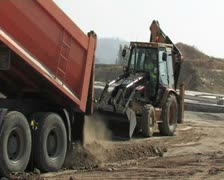 Truck unloading sand. Construction. Stock Footage
