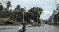 Tropical Forest in Samui Island, Amazing Thailand, Palm Tree, Traffic Car, Road Stock Footage