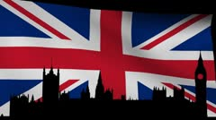Houses of Parliament London with rippling British Flag animation Stock Footage