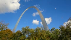 Incredible St. Louis Arch during Fall with leaves falling down like snowflakes. Stock Footage