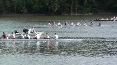 Rowers crossing during practice.  Washington, DC Stock Footage
