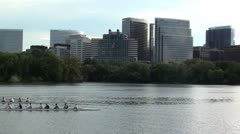 Rowers, Rosslyn skyline - stock footage