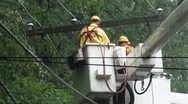 Stock Video Footage of Action! Cross-arm (cross-beam) swings as released by utility repair workers.
