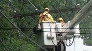 Action! Cross-arm (cross-beam) swings as released by utility repair workers. Stock Footage