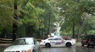 Police car (DC) blocks road of power line repair - Wide Shot Stock Footage