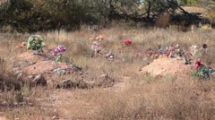Cemetery graves weeds abandoned P HD 0254 Stock Footage