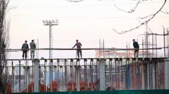 Worker on the building site Stock Footage