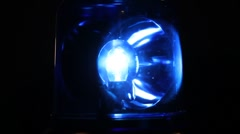 Rotating flashing blue emergency light - stock footage