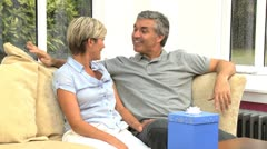 Mature Male Receiving Birthday Gift from Wife Stock Footage