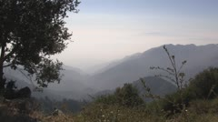 Mountaintop view of smog. - stock footage