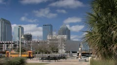 Tampa TECO trolley passes St. Pete Times Forum arena Stock Footage