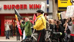"Demonstrators  marshing on Yonge street to support ""Occupy Toronto"" movement Stock Footage"