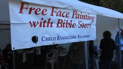 Child Evangelism Fellowship  booth at Bridge Day 2011 Stock Footage