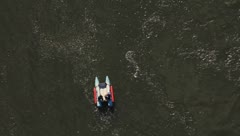 View of rescue raft from New River Gorge Bridge Stock Footage