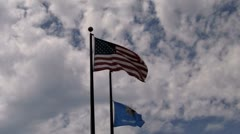 20s oklahoma us flags cloudy Stock Footage